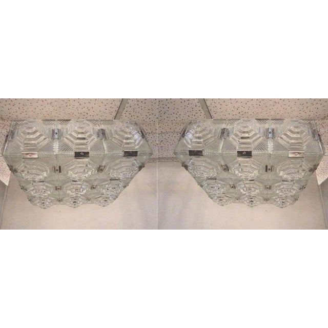 Art Deco Art Deco Revival Flush Mount Glass Ceiling Squares - 2 Available For Sale - Image 3 of 13