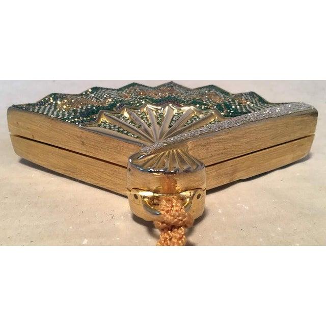 Art Nouveau Judith Leiber Swarovski Crystal Fan Minaudiere Evening Bag Clutch Wristlet For Sale - Image 3 of 8