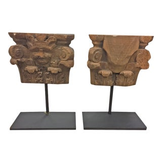 Vintage Wooden Architectural Elements From Spain With Custom Bases, Sold as a Pair For Sale