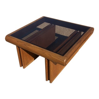 1980s Postmodern Wood Smoked Glass Side Table For Sale