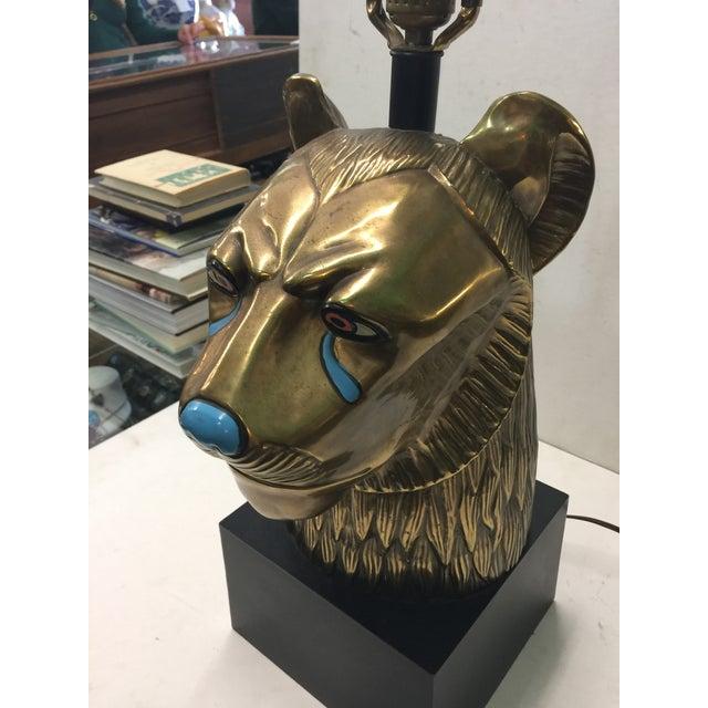 Egyptian Revival Vintage CHAPMAN Brass Sekhmet Egyptian Lion Figural Bust Goddess Lamp 70's For Sale - Image 3 of 6