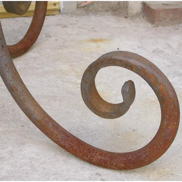 Early 20th Century French Wrought Iron Oval Table Base For Sale - Image 5 of 7