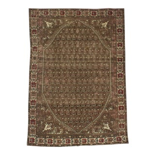 Vintage Turkish Brown Wool Rug - 4′5″ × 6′3″ For Sale