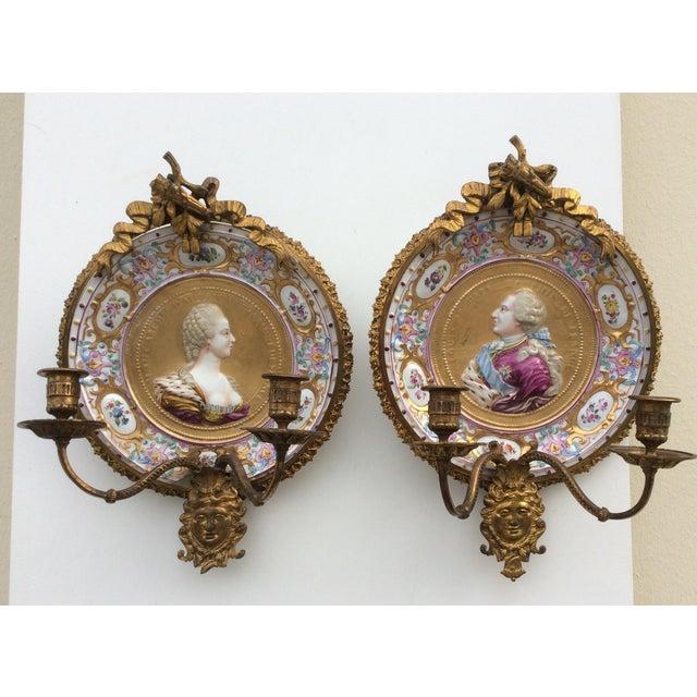 Porcelain & Bronze Royal Portrait Sconces - A Pair - Image 3 of 11
