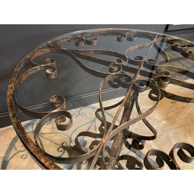 Rustic Black Iron Bistro Table with Glass Top For Sale - Image 3 of 5