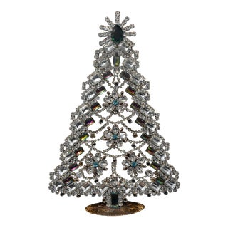 Tall Vintage Czech Crystal and Rhinestone Table Top Mantle Christmas Tree For Sale