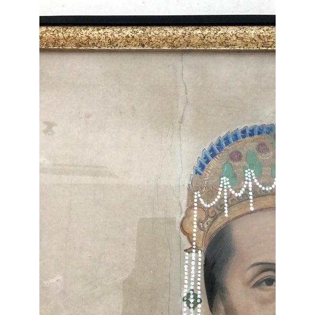 Large Antique Qing Dynasty Ancestor Painting of a Chinese Lady of Importance, Framed For Sale - Image 9 of 10