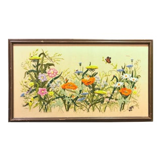 Vintage Framed Meadow Scene Needlepoint Textile Art For Sale