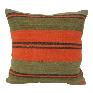 Vintage Striped Kilim Pillow Cover For Sale