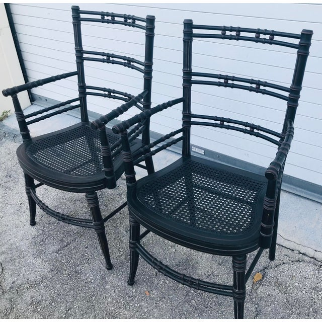 Vintage Baker Furniture Faux Bamboo Chairs - a Pair For Sale In West Palm - Image 6 of 11