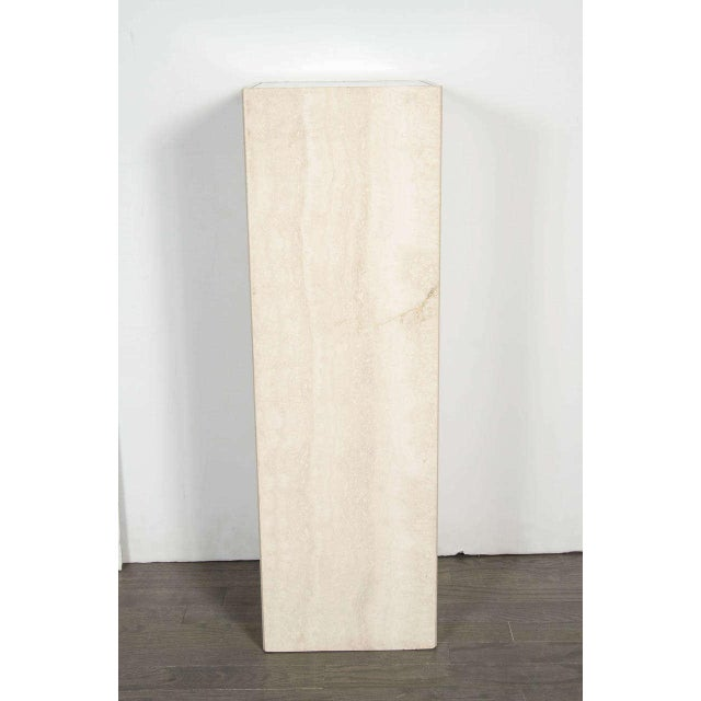 Mid-Century Modernist Travertine Marble and Glass Illuminating Pedestal / Column For Sale - Image 4 of 6