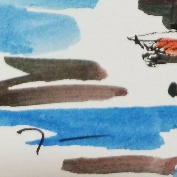 Jose Trujillo Original Signed Small Sailboats Watercolor Painting For Sale - Image 4 of 4