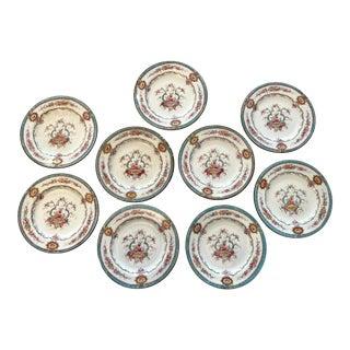 20th Century Aqua Cauldon Plates -Set of 9 For Sale