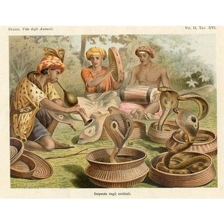 Illustration Snake Charmers, 1930s Lithograph For Sale - Image 3 of 3