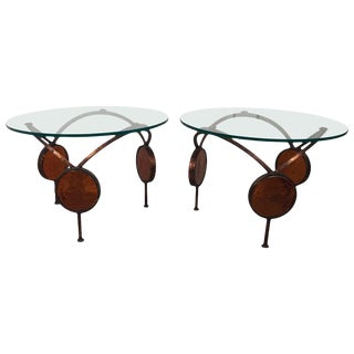 1960s Mid-Century Modern Iron and Glass Round Bunching Drinks Tables - a Pair For Sale