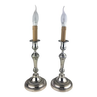 French Louis XVI Style Silver Plated Electrified Candlestick Table Lamps - a Pair For Sale