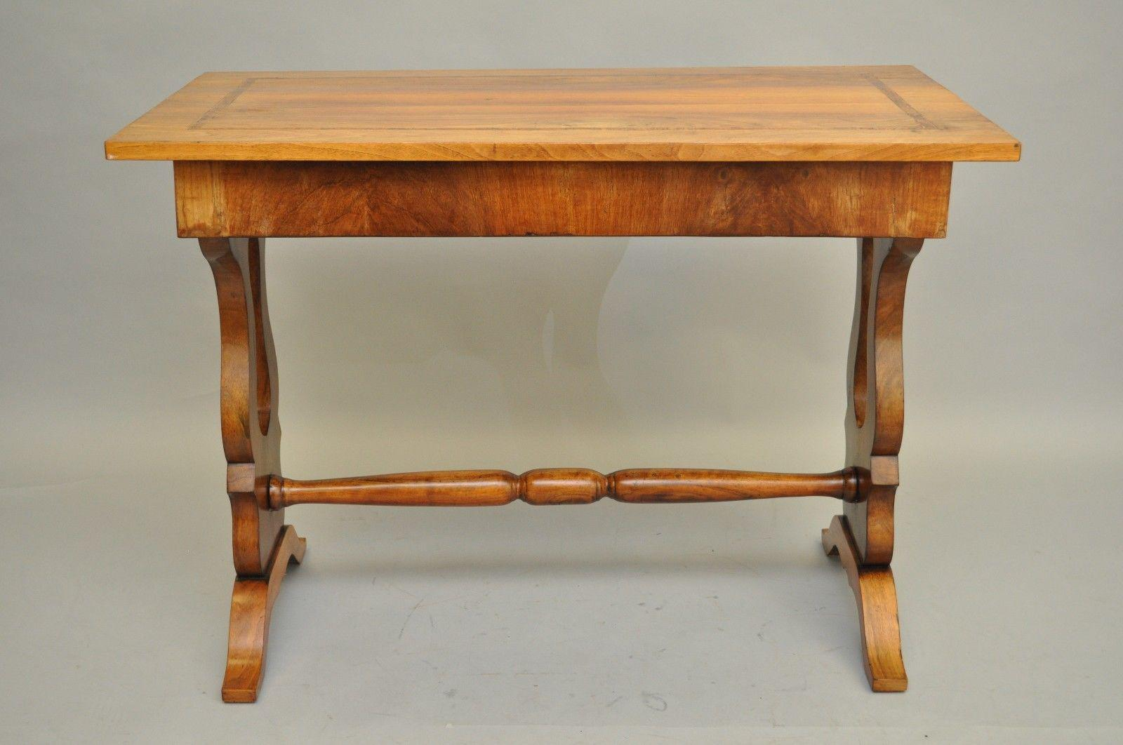 Antique Empire Regency Console Table Desk Flame Mahogany Burl Inlaid One  Drawer   Image 2 Of
