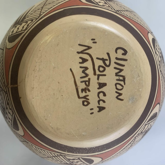 Southwest Clinton Polacca Hopi Polychrome Seed Jar With Migration Pattern For Sale - Image 9 of 13