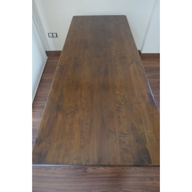 Spanish Rustic Dining Room Table with Lyre Leg For Sale In Miami - Image 6 of 10