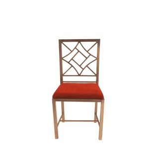 1990s Steel Chinese Chippendale Side Chair For Sale