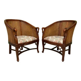 Cane Back Carved Wood Swan Club Chairs For Sale
