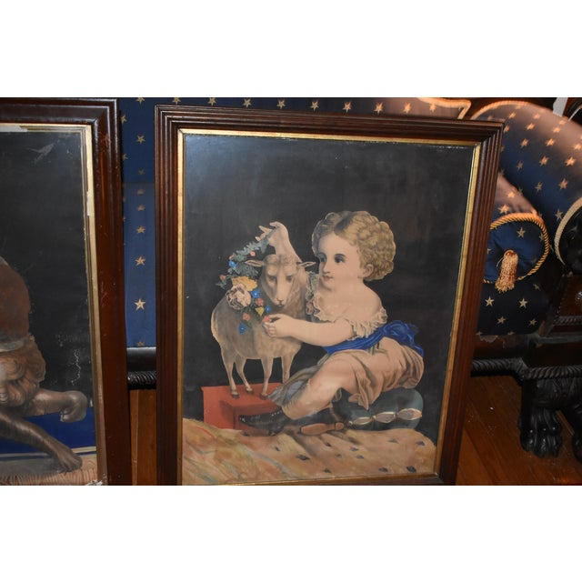 American 19th Century Antique Henry Schile Hand-Painted Lithographs, Painting Is Watercolor - a Pair For Sale - Image 3 of 11