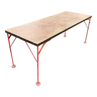 French Industrial Modern Steel Dining Table For Sale