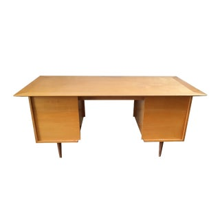1950s Danish Modern Blond Walnut Tanker Desk For Sale