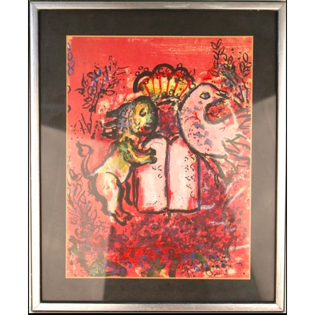 "Figurative Marc Chagall 1962 Lithograph ""Jerusalem Windows: Tablets of the Law"" For Sale - Image 3 of 7"