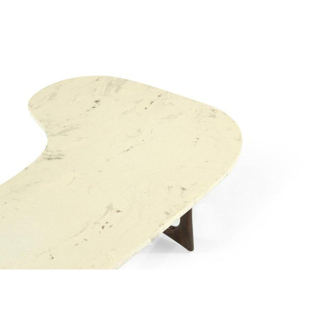 White 1950s Asymmetric Marble-Top Coffee Table by Adrian Pearsall For Sale - Image 8 of 10