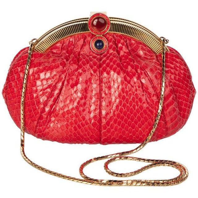 Leather Vintage Judith Leiber Red Snake Skin Clutch Bag For Sale - Image 7 of 7