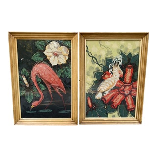 Vintage Billy Seay for Turner Framed Flamingo and Cockatoo Lithographs - a Pair For Sale