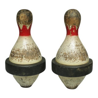 Early 20th c. Rubberband Duckpins - a Pair