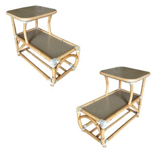 Restored Rattan Side Table With Two-Tier Formica Tops, Pair For Sale