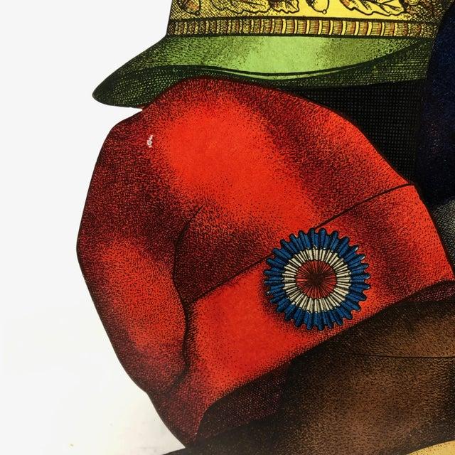 "Hand coloured trompe l'oeil transfer printed on metal ""Cappelli"" (hats) Umbrella Stand by Piero Fornasetti."