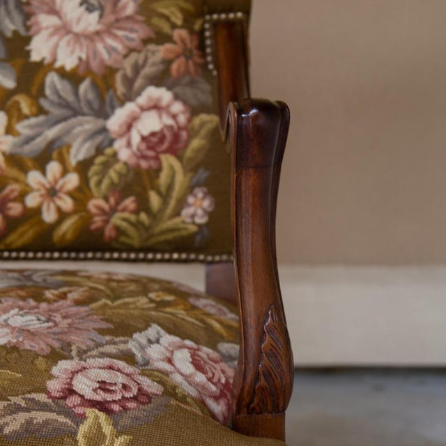 19th Century Antique French Louis XV Original Needlepoint Tapestry Armchair For Sale In Dallas - Image 6 of 13