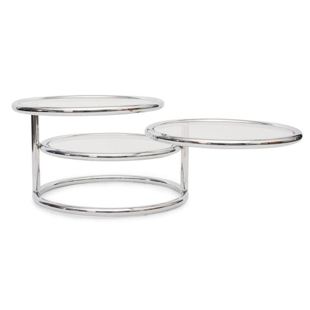 1970s Convertible Chrome & Glass Cocktail Table after Pace For Sale - Image 5 of 8
