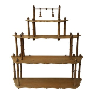 1880s French Faux Bamboo Wood Shelf For Sale