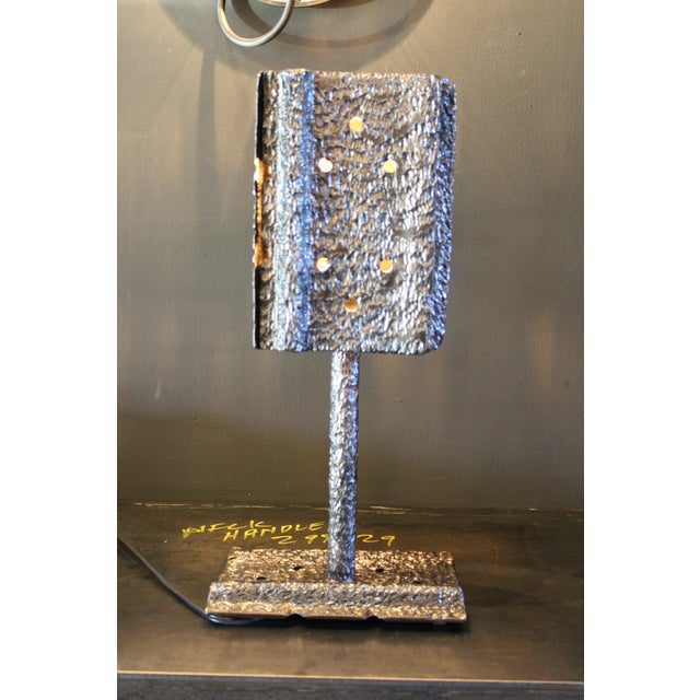 """Metal Pair of Custom Clark Shaw Brutalist Lamps - """"Tread Lightly"""" For Sale - Image 7 of 7"""