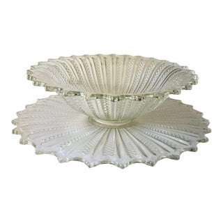Large Art Deco Vertical Pattern Fluted Scalloped Edge Heavy Glass Punch Serving Bowl and Underplate For Sale