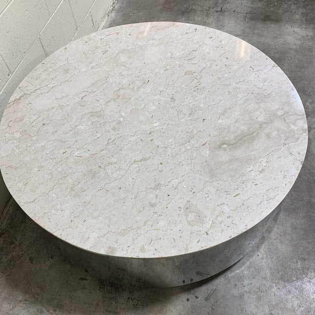 Pace Collection 1970s Pace Carrara Marble & Chrome Drum Coffee Table For Sale - Image 4 of 11