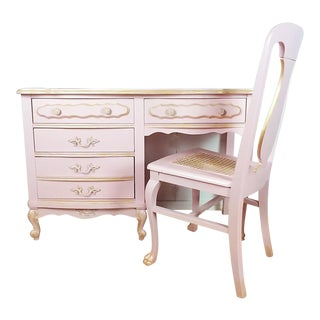 French Provincial Pink Desk Vanity and Chair