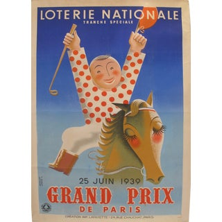 "1939 French Art Deco Poster - Loterie Nationale Advertisement - Tranche Speciale - ""Grand Prix De Paris"" For Sale"