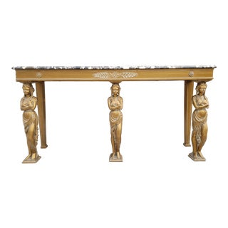 Antique Neoclassical Style Giltwood & Marble Top Console Table For Sale