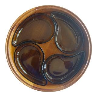 Dansk Staved Teak Tray & Teardrop Olive Green Glass Dishes Designed by Jens Quistgaard - Set of 5 For Sale