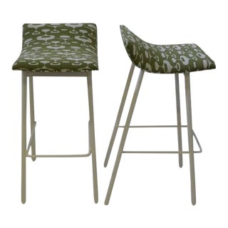 1950s Mid-Century Modern Curved Seat Green Fabric Bar Stools - a Pair