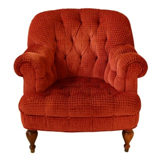 Tufted Red Upholstered Living Room Club Chair For Sale