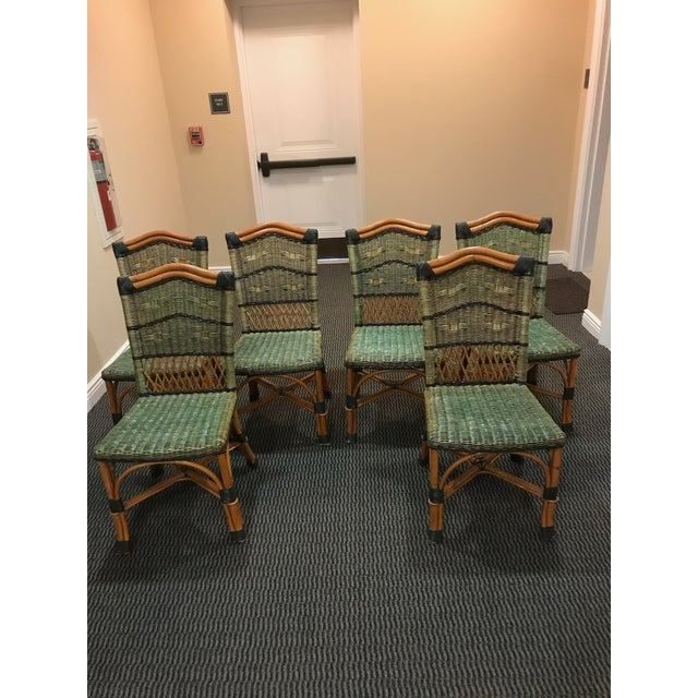 Light Green Grange Stained Rattan and Wood Dining or Patio Chairs -Set of 6 For Sale - Image 8 of 8