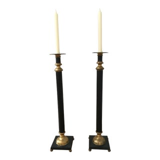 Tall Black & Gold Metal Candlesticks - a Pair