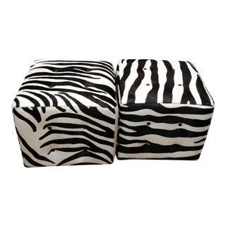 Contemporary Zebra Print Animal Hair on Hide Ottomans For Sale